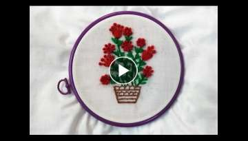Hand Embroidery - Wool Flowers with Lazy Knot Stitch