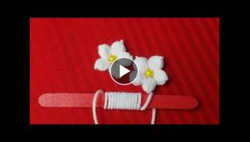 Hand Embroidery:Making Unique White Flower With Ice cream Stick/Amazing New Trick#Sewing Hack Par...
