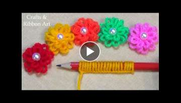 Super Easy Woolen Flower Making Ideas with Pencil - Hand Embroidery Amazing Trick - DIY Yarn Flow...