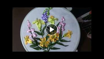 Ribbon embroidery stitches by hand tutorial - Ribbon embroidery designs for cushion covers