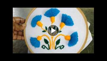 Hand Embroidery Tassel Flower Stitch Embroidery Work by Amma Arts