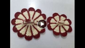 Make flower shape two colour crochet dress/poshak of bal gopal - beginner level