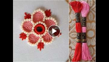 hand embroidery button hole stitch work flower embroidery design by new fashion design