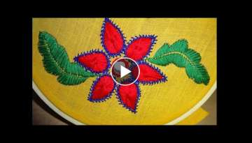 Hand Embroidery Beautiful Flower: Satin & Long Herringbone Stitch