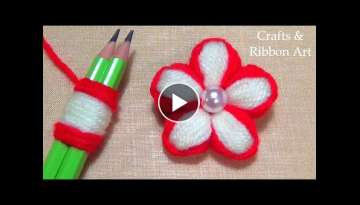 Super Easy Woolen Flower Making Ideas with Pencil - Hand Embroidery Amazing Trick