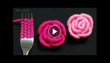Amazing Woolen Flower Ideas with Fork - Easy Rose Making - Hand Embroidery Trick