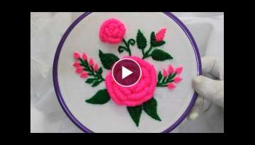 Hand Embroidery - Pink Roses with Bullion Knot Stitch