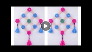 WALL HANGING TORAN DIY || TUTORIAL WALL TORAN MAKING AT HOME || BEAUTIFUL WLL HANGING TORAN WOOLE...
