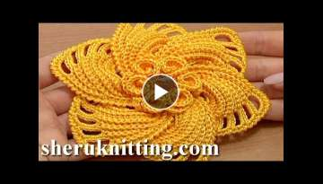 Crochet 6-Petal Flower Spirals In Center Tutorial 59 Part 1 of 2 Gehaakte bloem