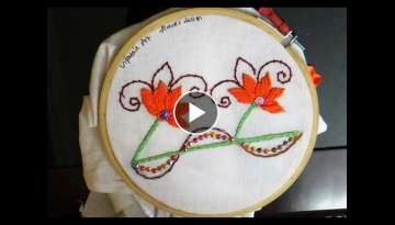 Hand Embroidery - Border design with double cast on stitch