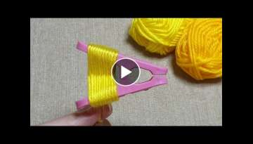 Super easy Woolen Embroidery Trick with Tongs - Amazing Hand Embroidery Butterfiy Design Ideas