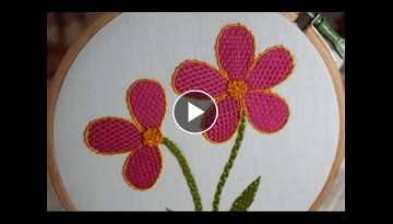 Hand Embroidery Designs | Checkered flower stitch | Stitch and Flower-138
