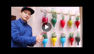 Colorful Garden from Plastic Bottles, Cute Vertical Garden Ideas