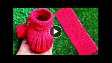 New design baby woollen boots in hindi step by step process|| Garam moje, socks