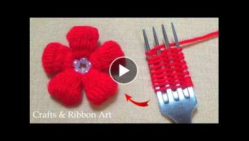 Amazing Woolen Craft Ideas with Fork - Hand Embroidery Flower Design - Easy Woolen Flower Making