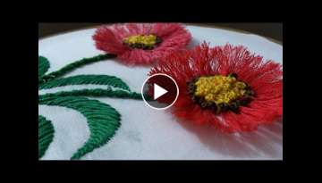 Hand embroidery designs. Hand embroidery stitches tutorial. pom pom flower stitch.