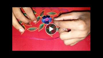 Hand embroidery flower with green leaf tutorial