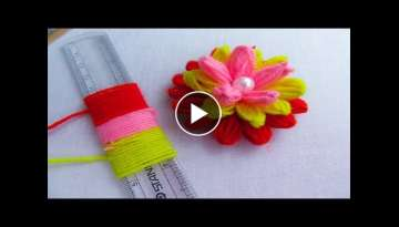 Hand Embroidery Amazing Trick# Easy Woolen Flower Trick# Easy Sewing Hack with Scale