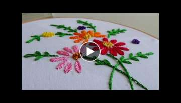 Hand Embroidery: Making flowers with Fishbone stitch